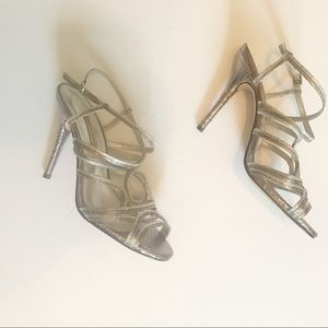 Caparros silver strappy evening shoe size 8B